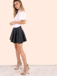 Faux Leather Zip Skater Skirt BLACK