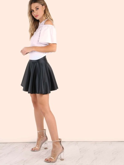 Faux Leather Zip Skater Skirt