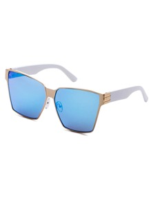 Metal Geometric Frame Blue Lens Sunglasses