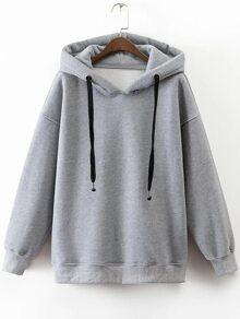 Grey Drawstring Side Zipper Hooded Sweatshirt