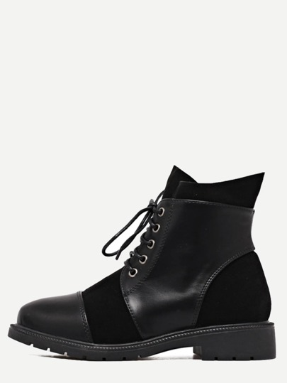 Black Genuine Leather Cap Toe Lace Up Booties