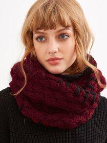 Burgundy Whipstitch Trim Chunky Knit Infinity Scarf