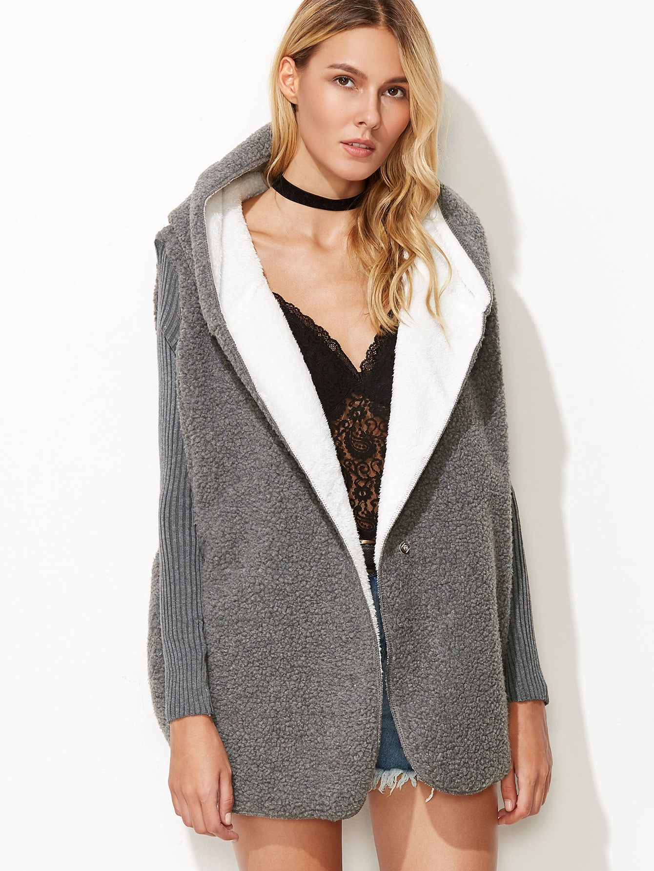 Contrast Ribbed Sleeve Sherpa CoatContrast Ribbed Sleeve Sherpa Coat<br><br>color: Grey<br>size: one-size