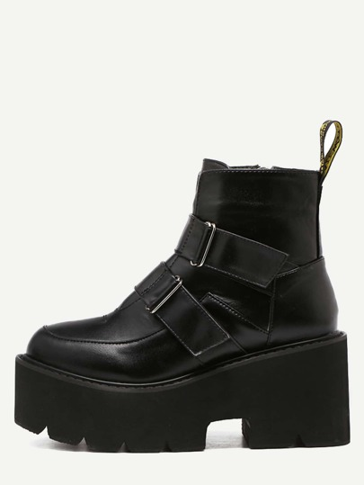 Black Faux Leather Buckle Strap Platform Boots