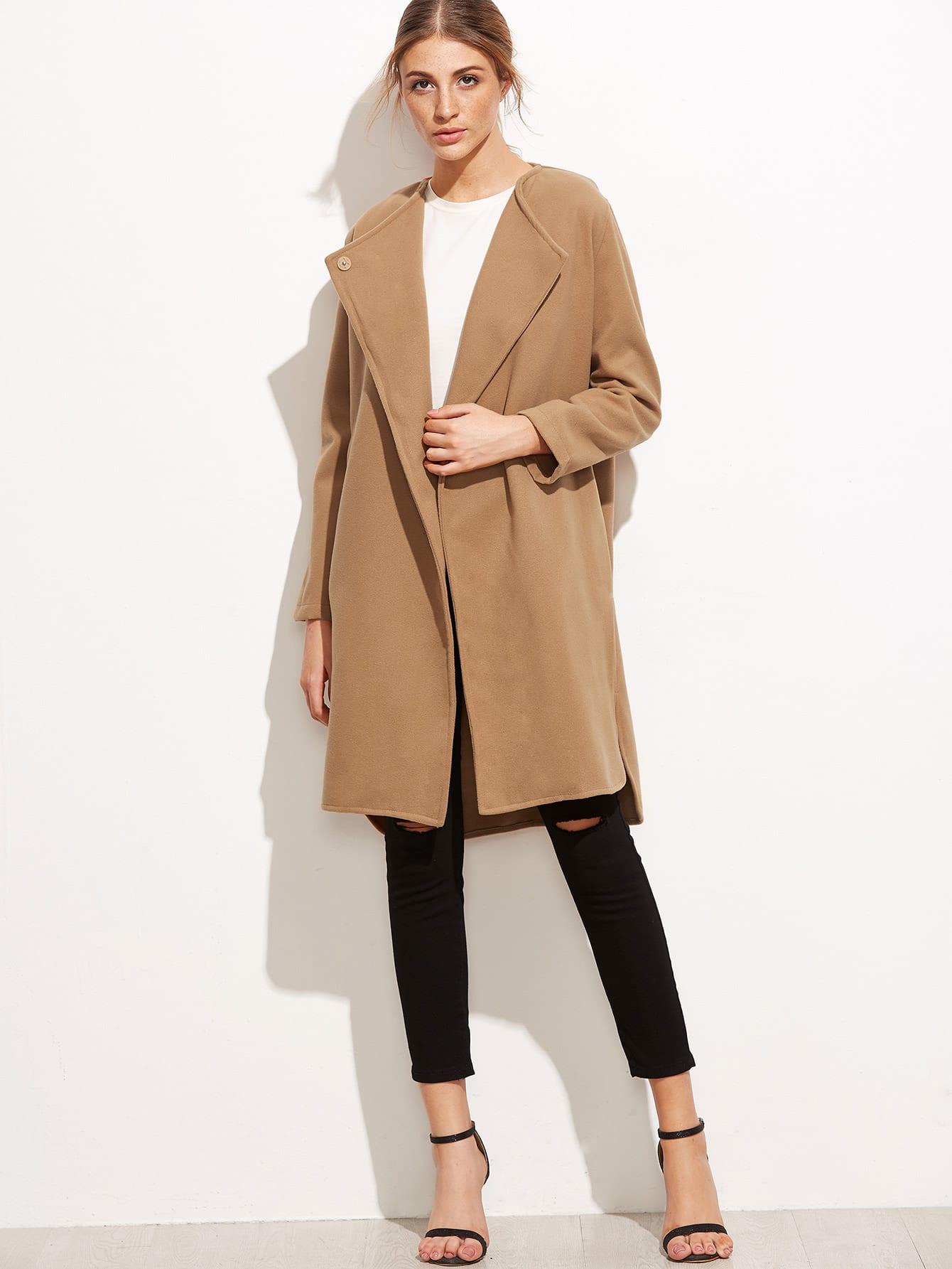 Khaki Slit Side Curved Hem Coat batwing sleeve pocket side curved hem textured dress