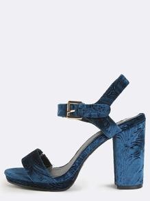 Vintage Embossed Velvet Heels TEAL