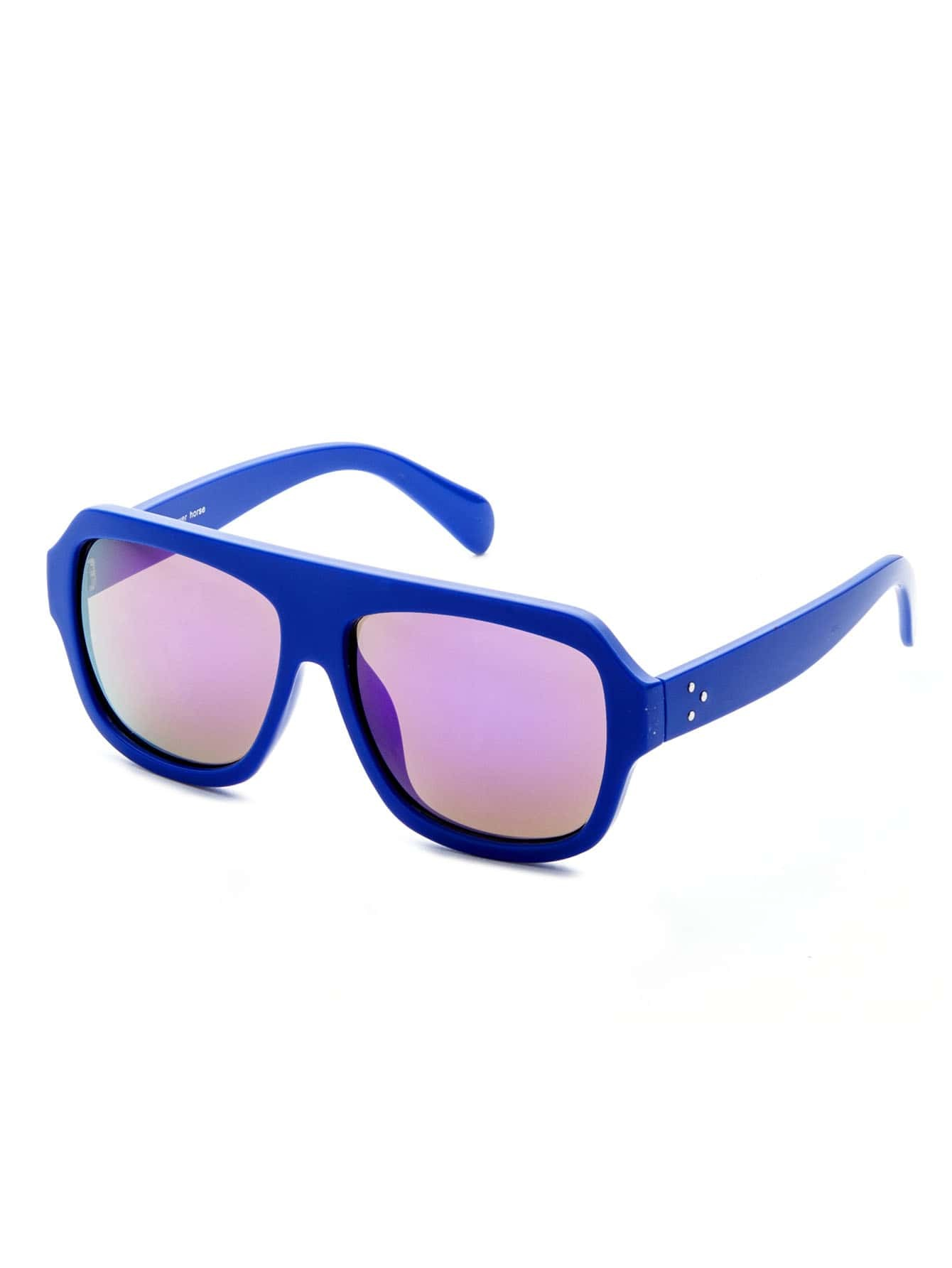 Blue Frame Large Lens Sunglasses sunglass161013308