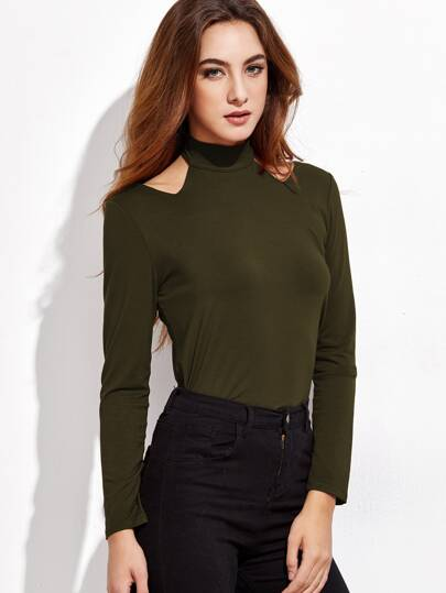 Army Green Cut Out Mock Neck T-shirt