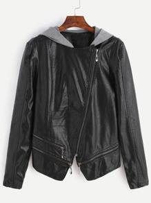 Black Oblique Zipper Contrast Hooded PU Jacket