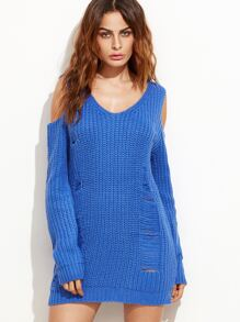 Blue Cold Shoulder Ripped Sweater Dress
