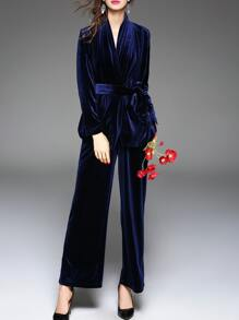 Navy Tie-Waist Velvet Top With Pants