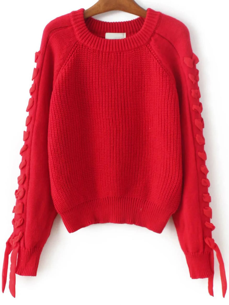 Red Lace Up Detail Raglan Sleeve Sweater -SheIn(Sheinside)