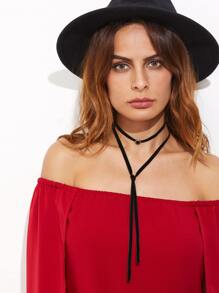 Black Velvet Round Gemstone Wrap Choker Necklace