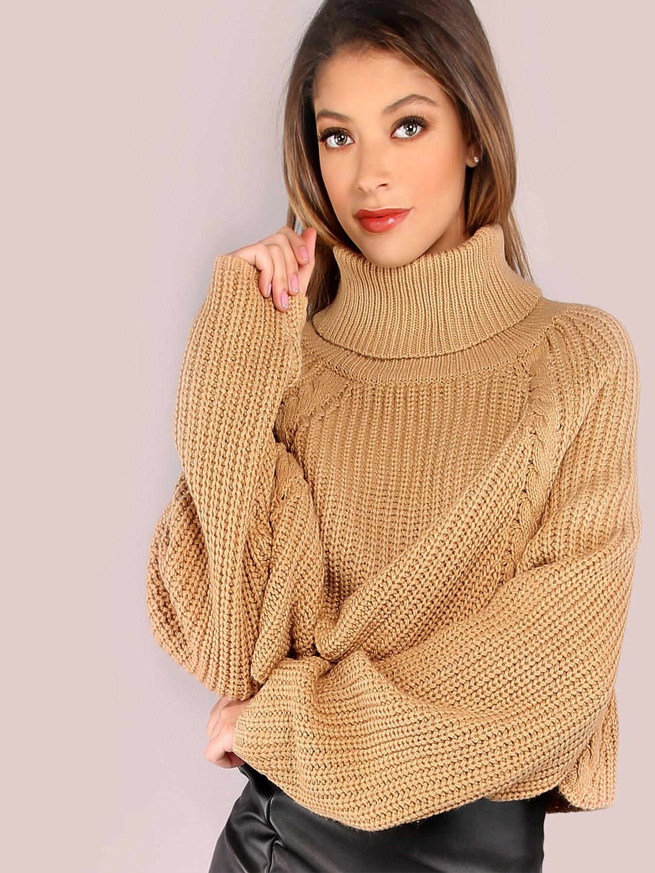 Turtleneck Waffle Knit Crop Sweater CARAMEL -SheIn(Sheinside)