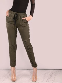 Cuffed Satin Luxe Joggers OLIVE