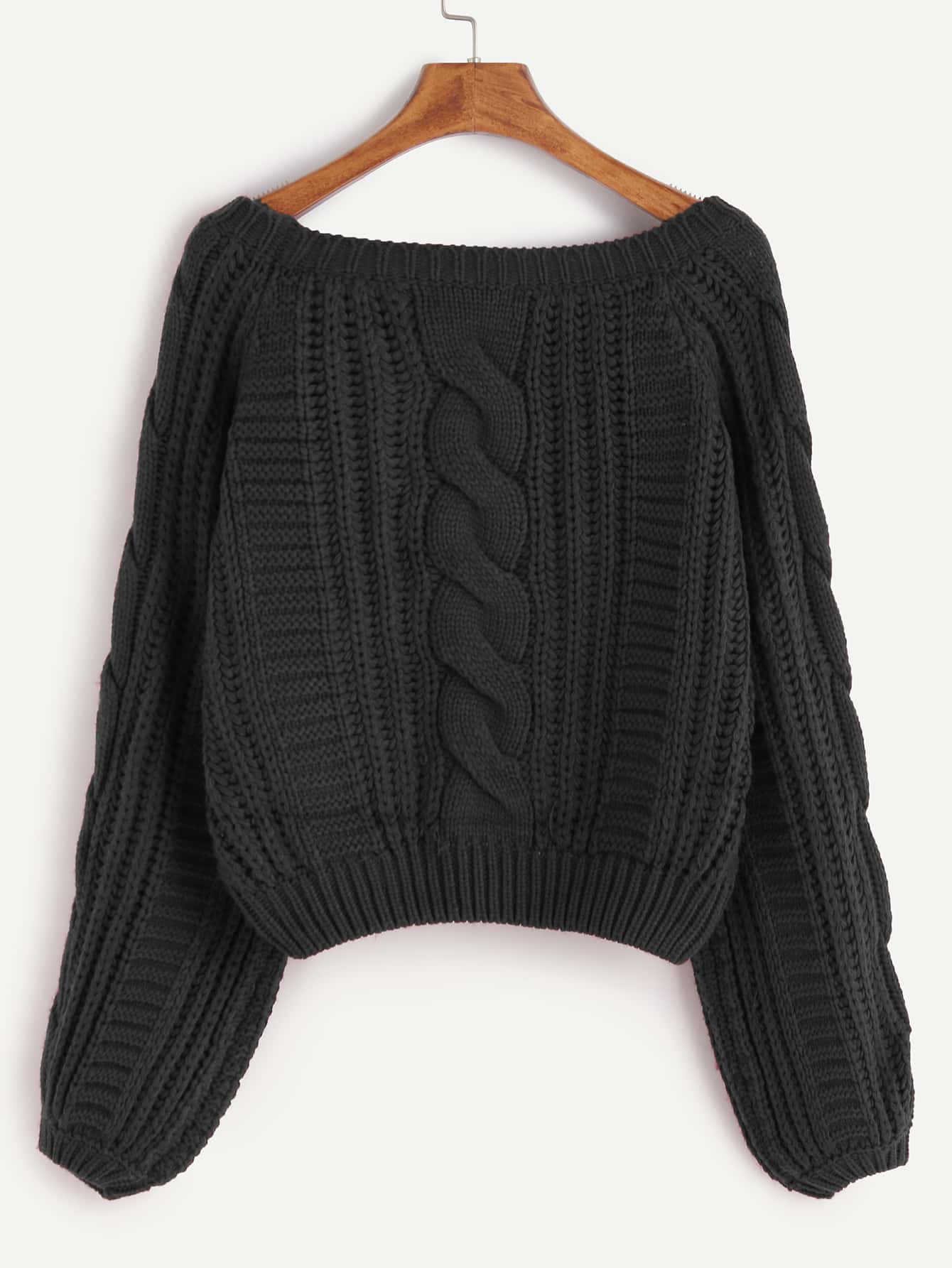 Black Raglan Sleeve Cable Knit Sweater -SheIn(Sheinside)