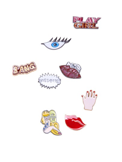 Cartoon Design Metal Brooch Set 8 Pcs