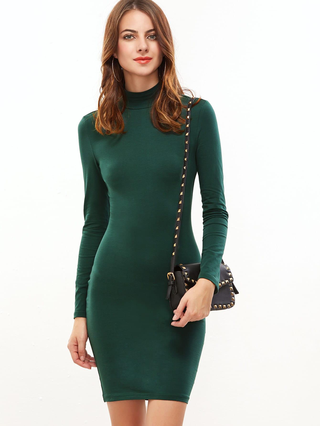 Green Mock Neck Long Sleeve Bodycon Dress