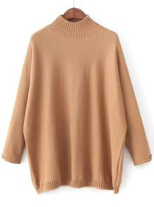 Khaki Mock Neck Patch Detail Loose Sweater