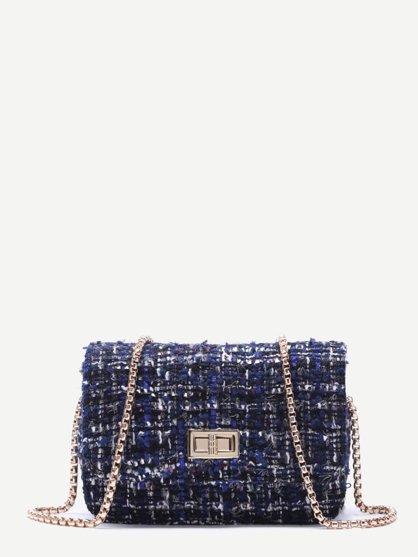 Royal Blue Woolen Box Bag With Chain Strap, null