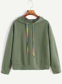 Sweat-shirt à capuche à l'épaule laissé -vert d'armée