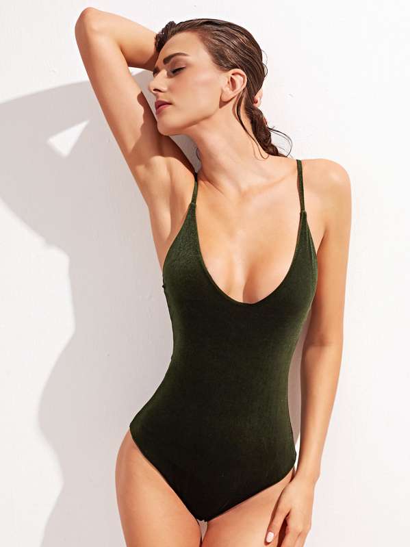 Scoop Neck Cross Back One-Piece Velvet Swimsuit, null