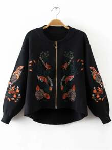 Black Embroidery Zipper Up High Low Sweater Coat