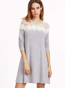 Grey Contrast Lace Shoulder A Line Dress