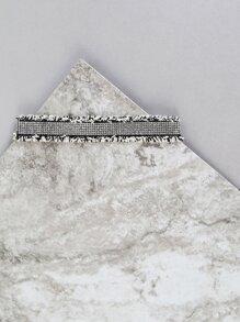 Frayed Houndstooth Crystal Choker BLACK WHITE