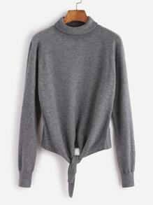 Grey Turtleneck Raglan Sleeve Knot Front Sweater
