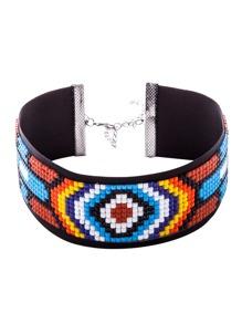 Multicolor Beaded Geometric Pattern Wide Choker Necklace