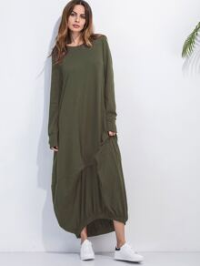 Army Green Elastic Hem Shift Dress