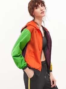 Color Block Drop Shoulder Zip Up Hooded Jacket