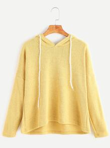 Yellow Hooded Drop Shoulder T-shirt