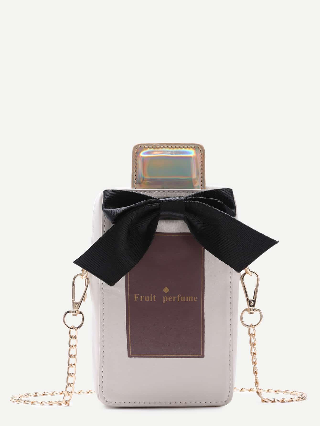 Apricot PU Bow Perfume Crossbody Chain Bag
