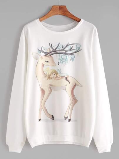 Beige Long Sleeve Cartoon Print Sweatshirt