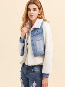 Veste molletonnée molletonnée avec gilet en jean blanchi -blanc