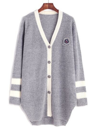 Grey Contrast Neckline Striped Sleeve Cardigan With Patch