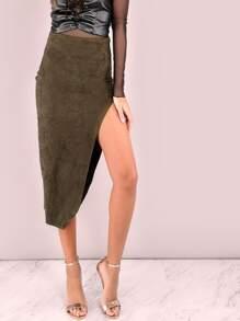 Falda de ante con abertura - verde oliva
