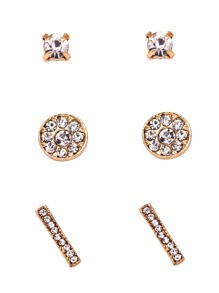 Gold Plated Rhinestone Encrusted Stud Earrings Set