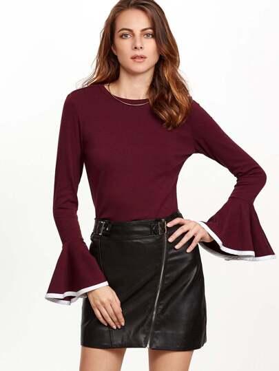 Burgundy Contrast Binding Bell Sleeve T-shirt