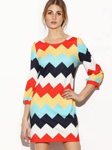 Multicolor Chevron Print 3/4 Sleeve Tunic Dress