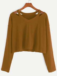 Khaki Cut Out Neck T-shirt