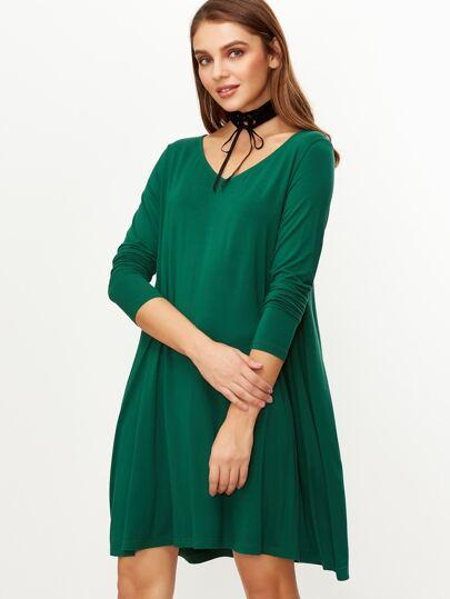 Green V Neck Long Sleeve Swing Dress