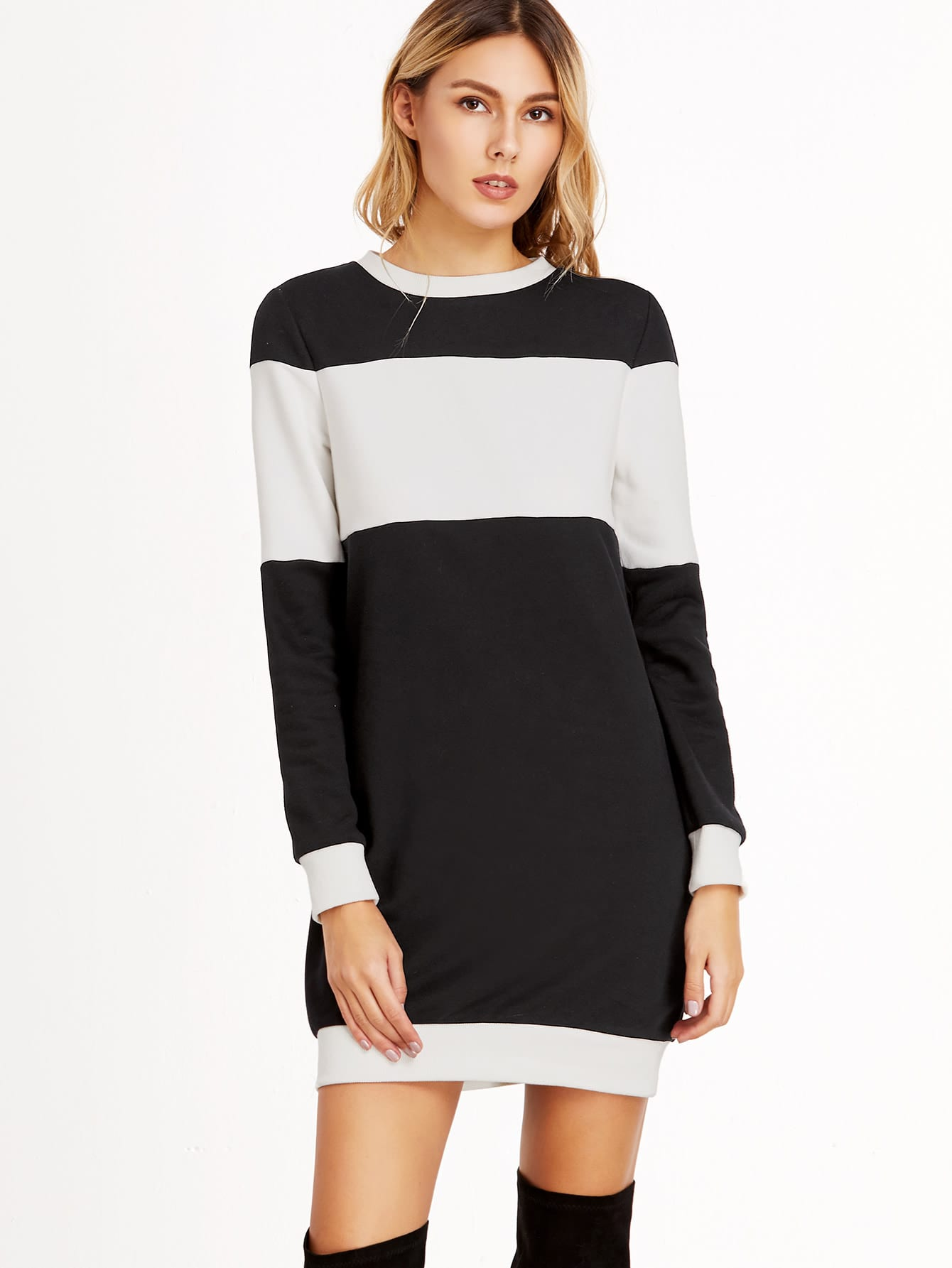 Black And White Ribbed Trim Sweatshirt Dress dress161111706