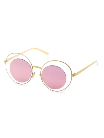 Gold Frame Pink Mirrored Lens Hollow Out Sunglasses