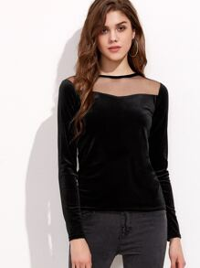 Black Mesh Insert Zipper Back Velvet T-shirt