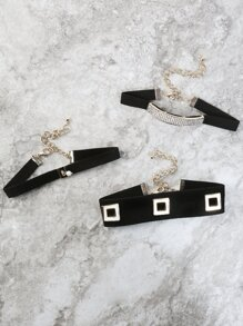 Metallic Cube Cut Out Choker Set GOLD