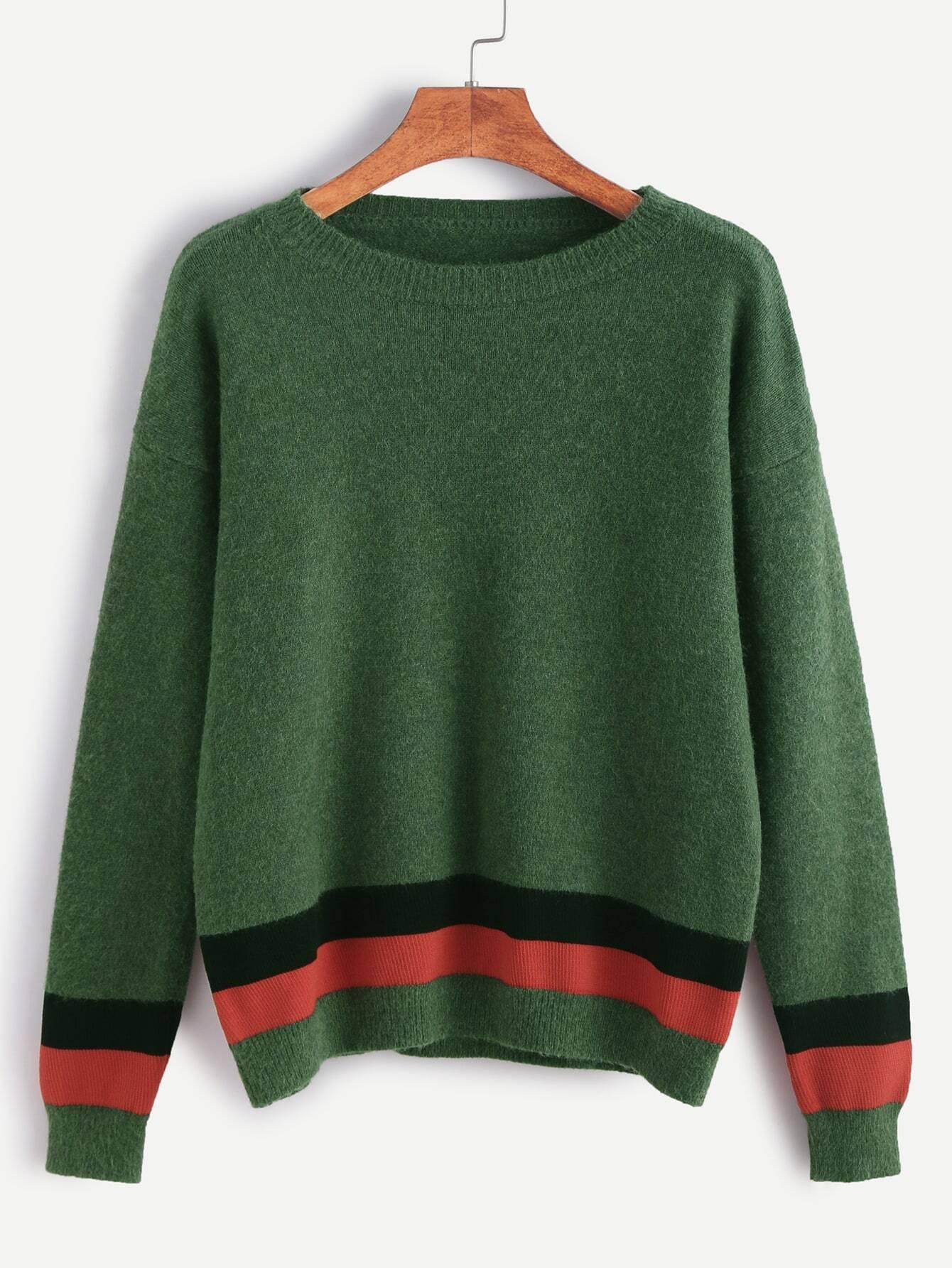 Green Drop Shoulder Striped Trim Sweater sweater161104007