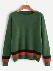 Green Drop Shoulder Striped Trim Sweater